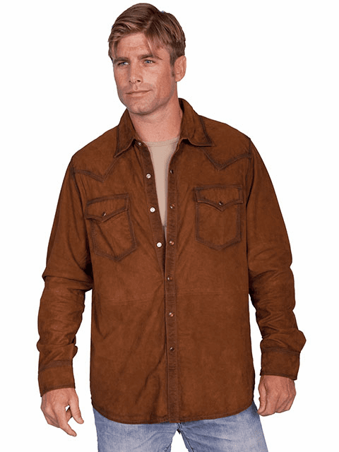Scully Cowboy Western Suede Shirt Brown*