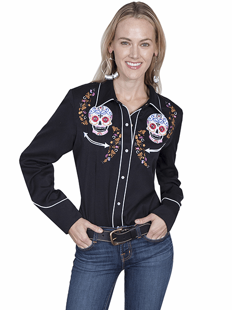 Scully Day of the Dead Western Shirt Black