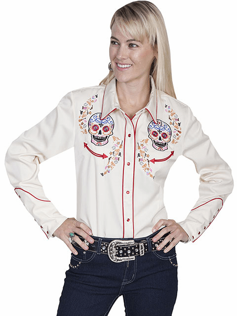Scully Day of the Dead Western Shirt Cream