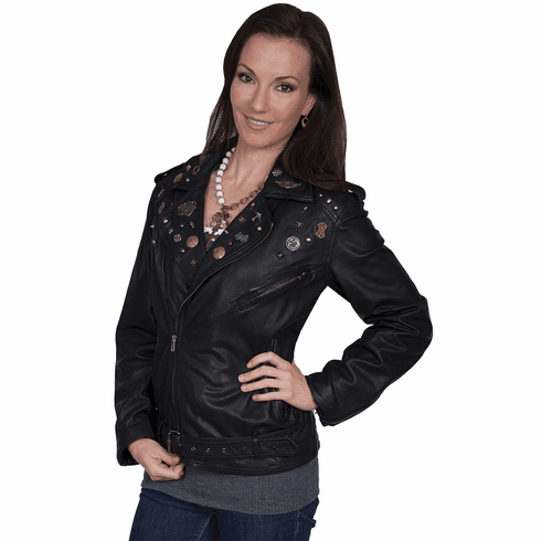 Scully Embellished Lamb Motorcycle Jacket Charcoal