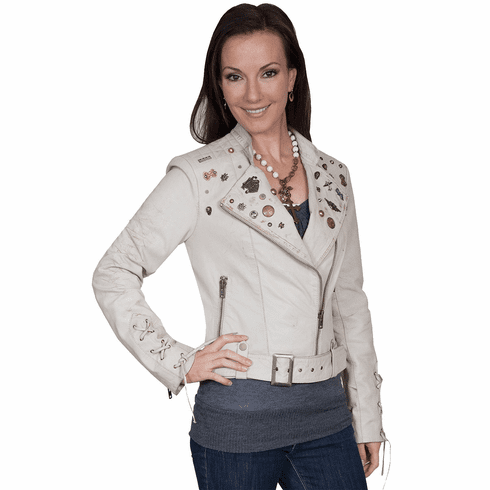 Scully Embellished Lamb Motorcycle Jacket Sand