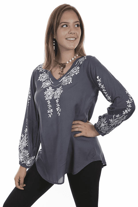 Scully Embroidered Blouse Blue S-XXL