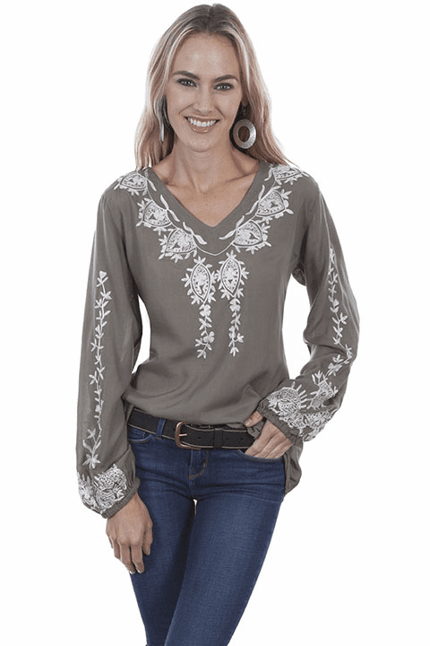 Scully Embroidered Blouse Sage S-XXL