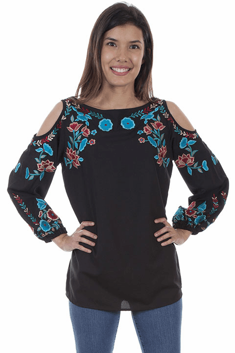 Scully Embroidered Cold Shoulder Tunic Black