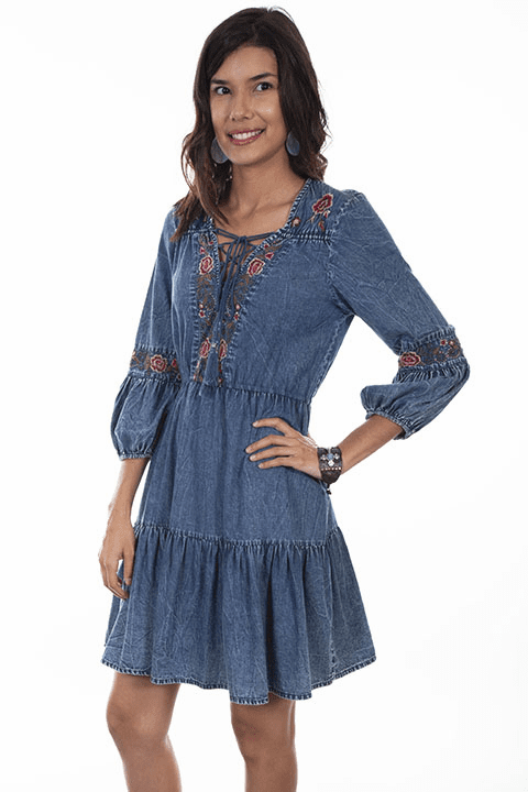 Scully Embroidered Denim Dress