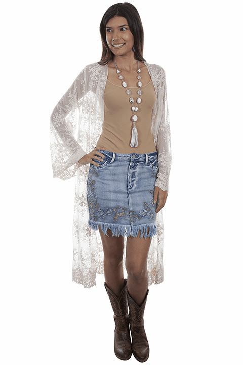 Scully Embroidered Denim Skirt with Fringe