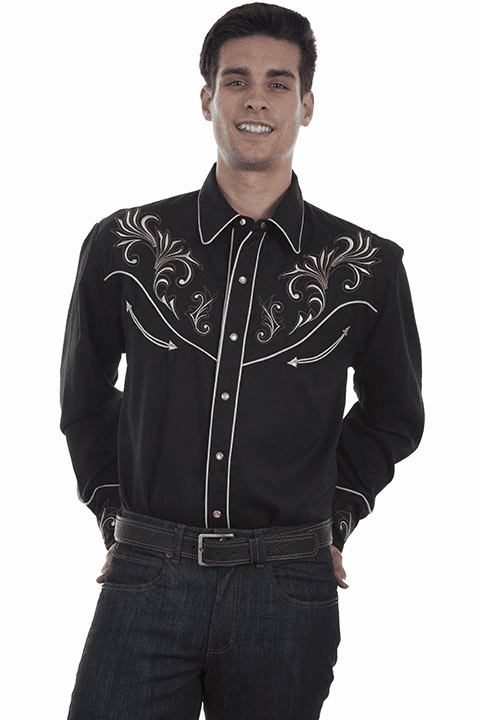 Scully Embroidered Floral Scrolls Men's Western Shirt