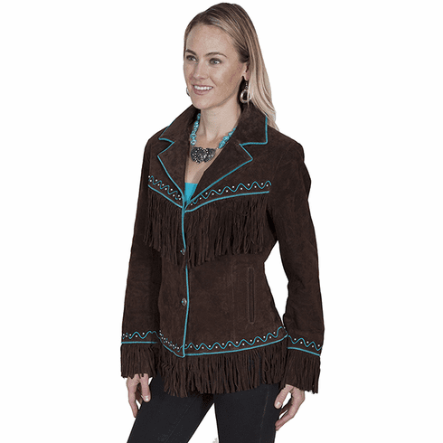 Scully Embroidered Fringe Jacket Chocolate S-XXL