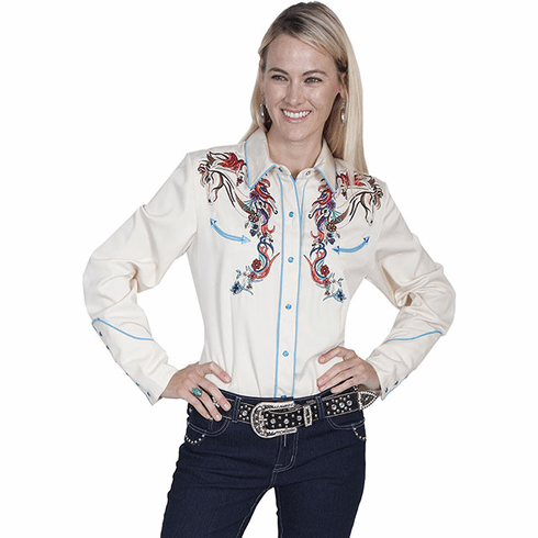 Scully Embroidered Horse and Flower Western Shirt - Cream