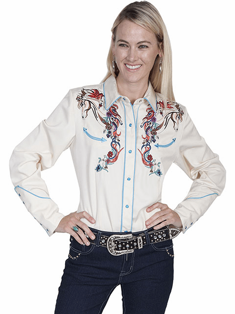 Scully Embroidered Horse and Flower Western Shirt - Cream***