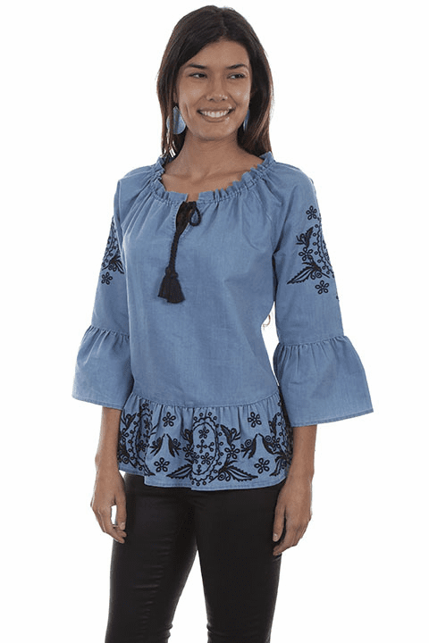 Scully Embroidered Peplum Blouse