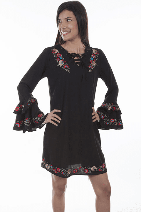 Scully Embroidered Ruffle Dress