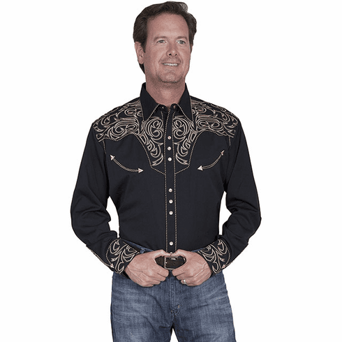 Scully Embroidered Scroll Western Shirt Black