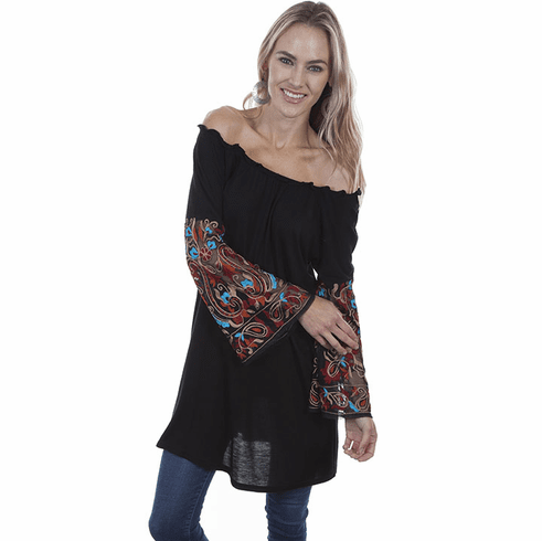 Scully Embroidered Sleeve Tunic Black