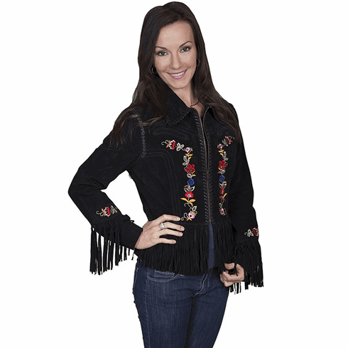 Scully Embroidered Suede Jacket Black
