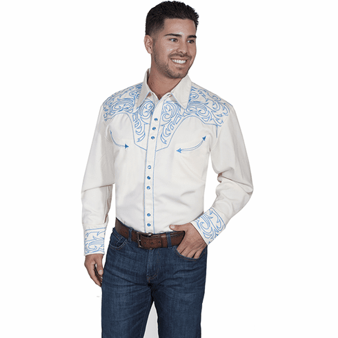 Scully Embroidered Western Shirt White/Electric Blue