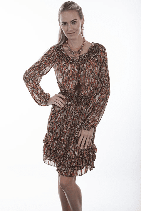 Scully Feather Print Cowgirl Dress Brown