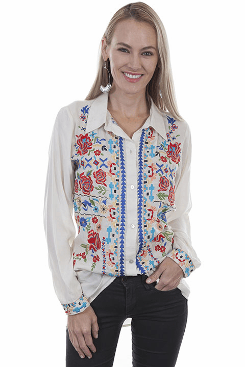 Scully Floral Embroidered Blouse Mushroom Color