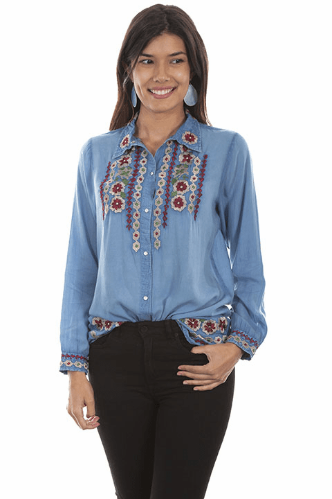 Scully Floral Embroidery Blouse Blue