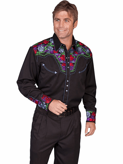 Scully Floral Tooled Embroidery Western Shirt - Black