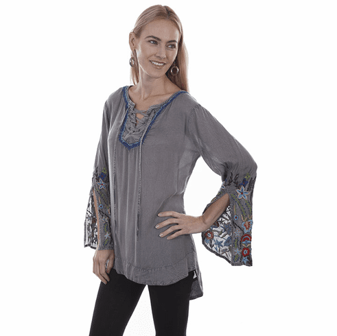 Scully Floral Tunic Shirt Charcoal S-XXL
