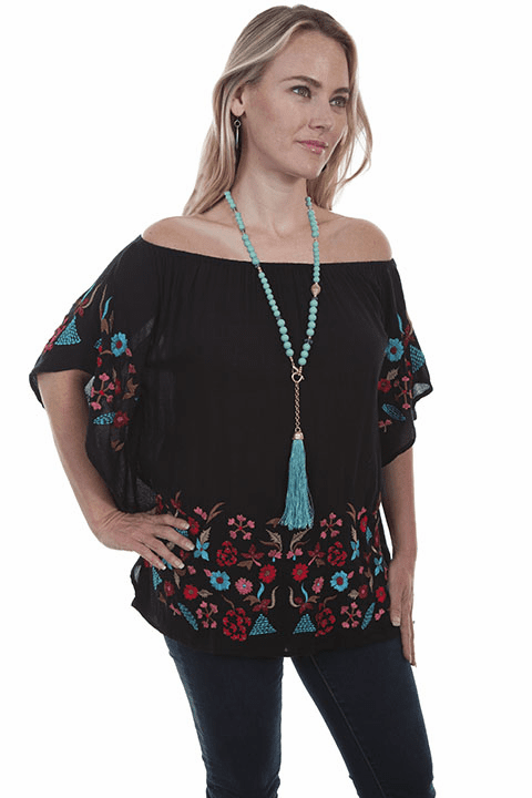 Scully Flower embroidered Blouse w/ Flared Sleeves Black