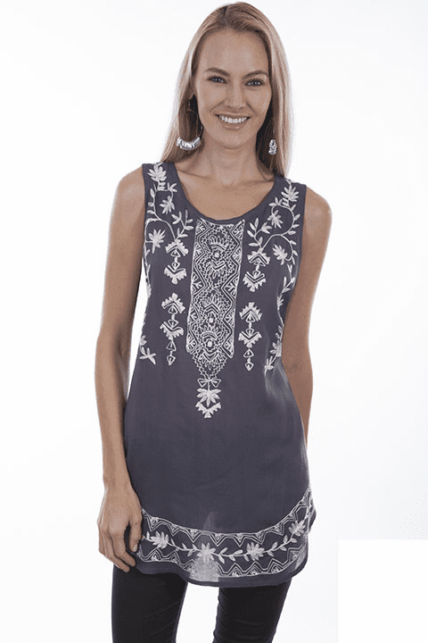 Scully Folklore Tank Top WEDGEWOOD BLUE