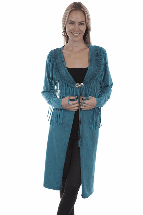 Scully Fringe Duster Turquoise