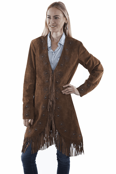 Scully Fringe Embroidered Suede Coat Cinnamon XS-2XL