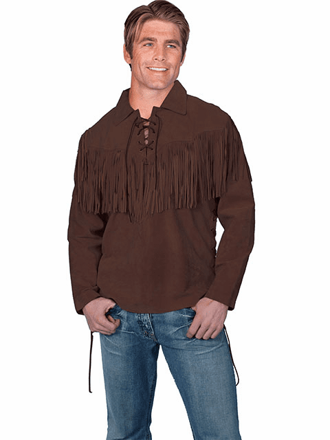 Scully Fringe Leather Shirt Chocolate