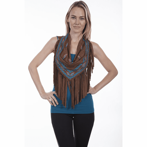 Scully Fringe Scarf with Feathers Embroidered Brown