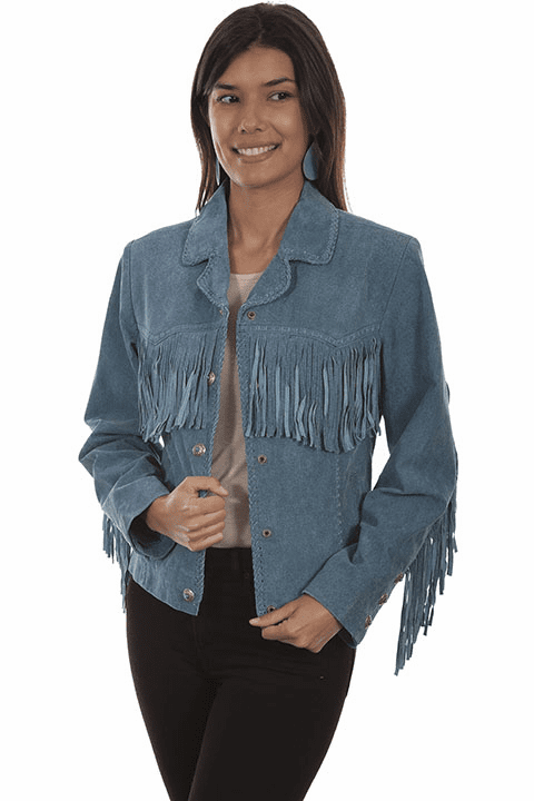 Scully Fringe Suede Jacket Denim Blue