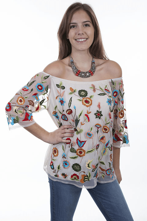 Scully Garden Flower Off the Shoulder Blouse Ivory