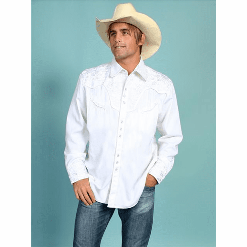 Scully Gunfighter Western Shirt  - White