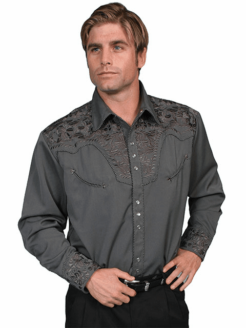 Scully Gunfighter with Embroidery Shirt Charcoal