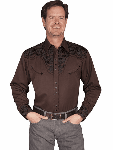 Scully Gunfighter with Embroidery Shirt Chocolate