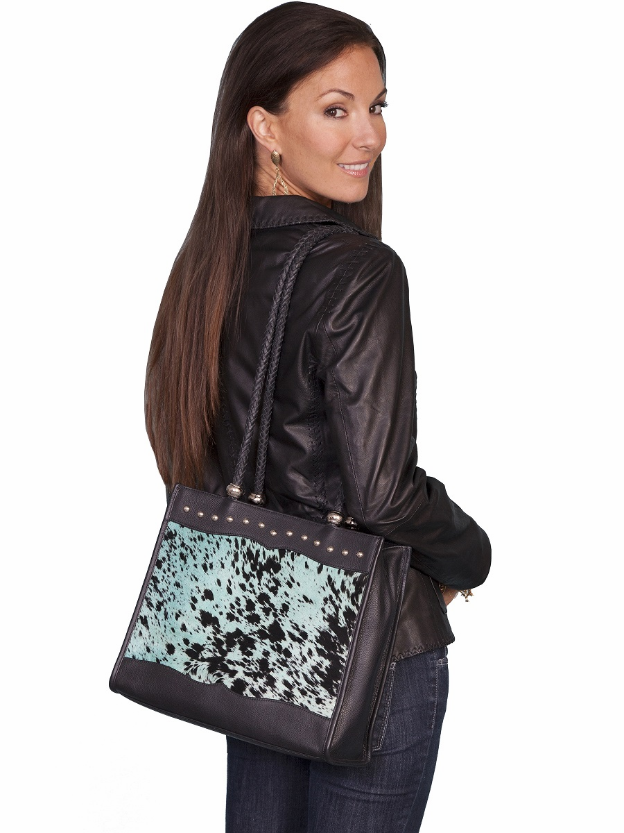 Scully Hair on Calf Stud Trim Western Purse