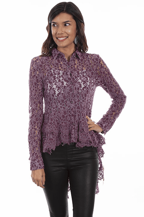 Scully Hi/Lo Western Lace Top
