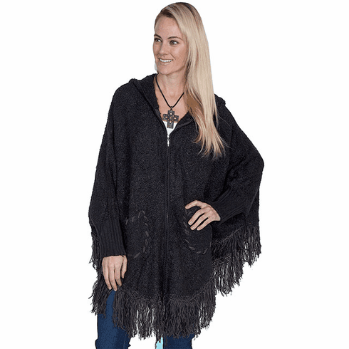 Scully Hooded Zip Front Poncho Black