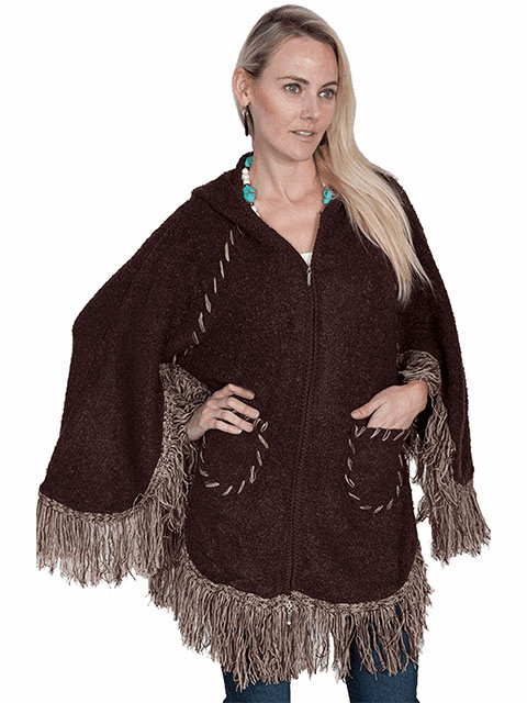 Scully Hooded Zip Front Poncho Brown