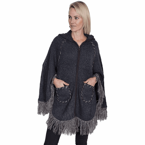 Scully Hooded Zip Front Poncho Charcoal