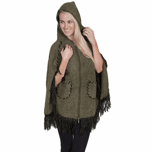 Scully Hooded Zip Front Poncho Olive