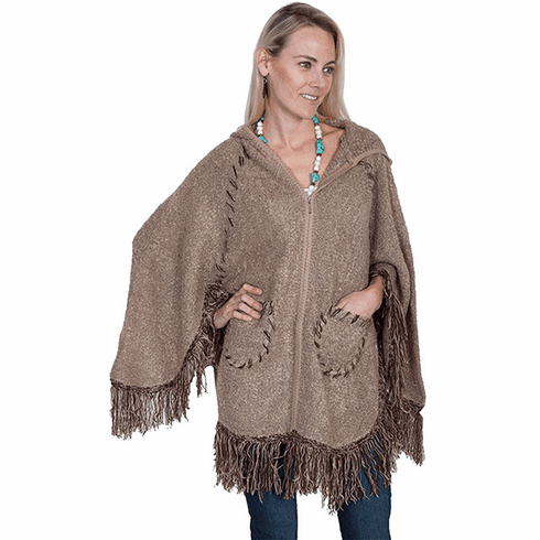 Scully Hooded Zip Front Poncho Taupe