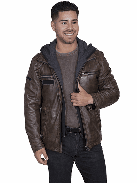 Scully Hoodie Leather Jacket Brown