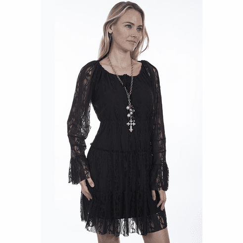 Scully Lace Long Sleeve Dress Black