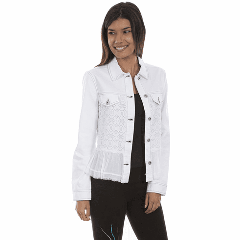 Scully Lace & Ruffle Jean Jacket White