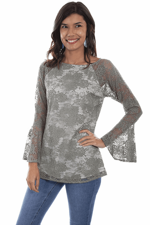 Scully Lace Tunic Top Sage