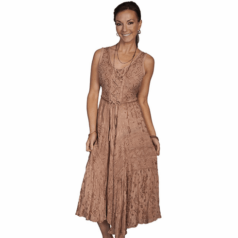 Scully Lace Up Front Dress Beige