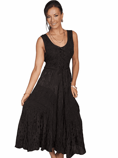 Scully Lace Up Front Dress Black