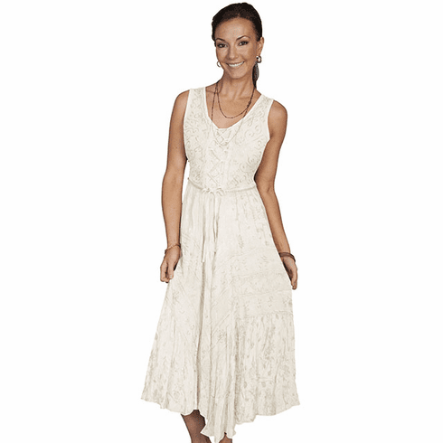 Scully Lace Up Front Dress Ivory